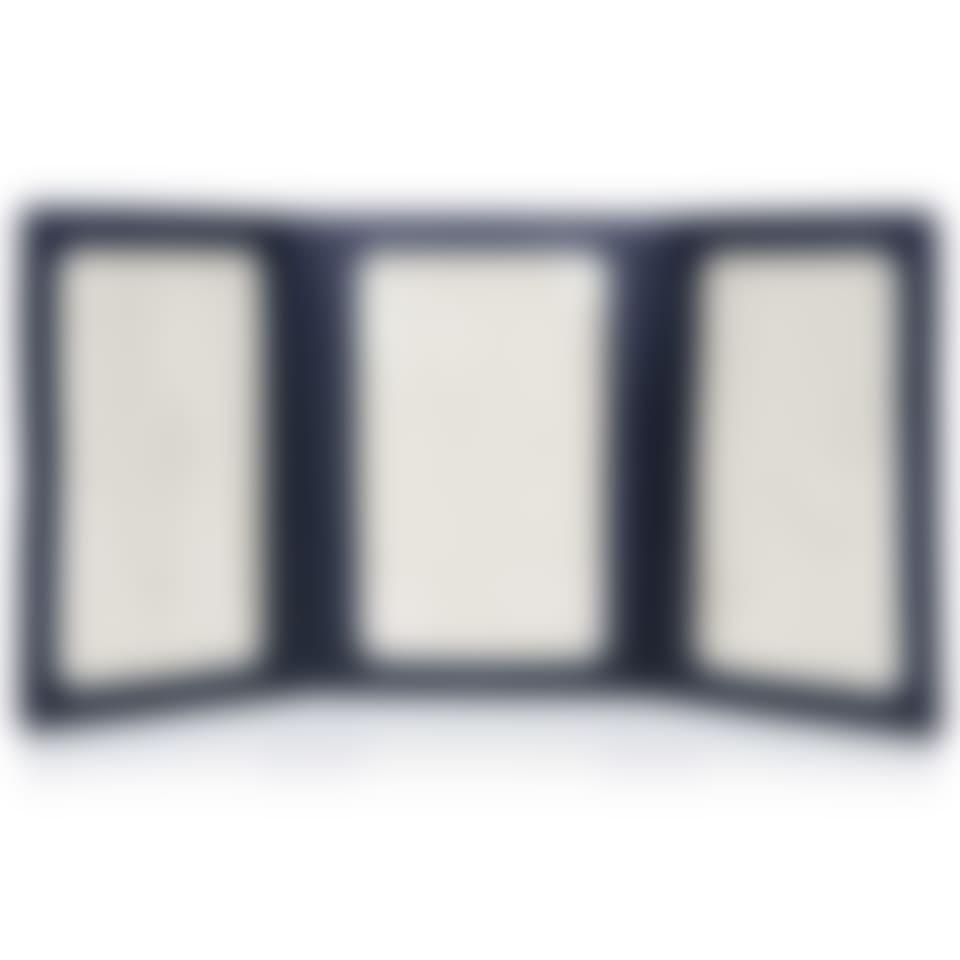 Malvern leather triple folding photo frame open