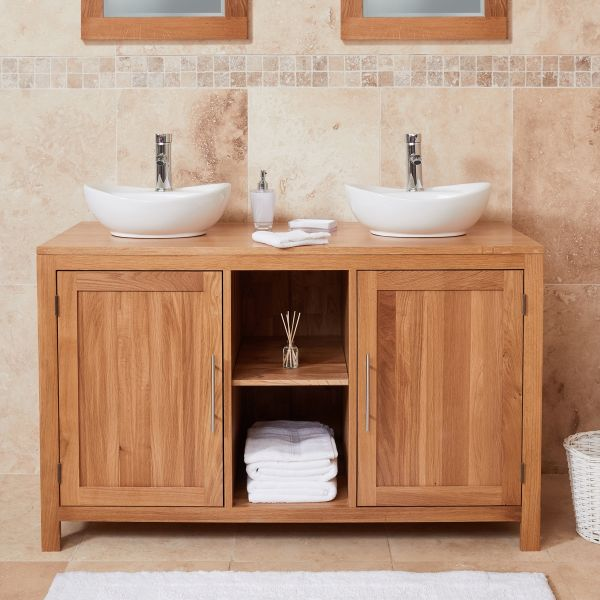 Mobel Oak Dual Round Sink Unit with Two Doors