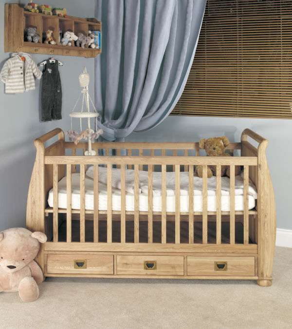 Amelie Oak Cot-Bed with Three Drawers