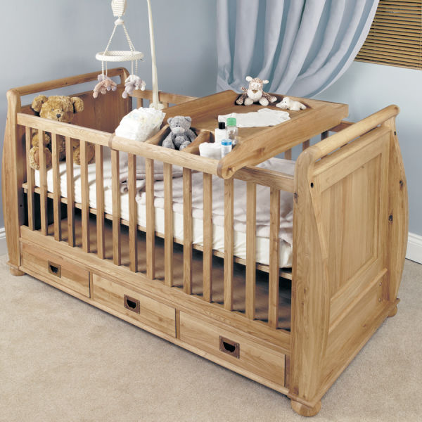 Amelie Oak Cot Bed and Baby Changer