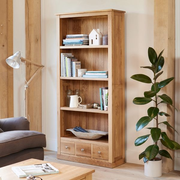 Mobel Light Oak Large Three Drawer Bookcase