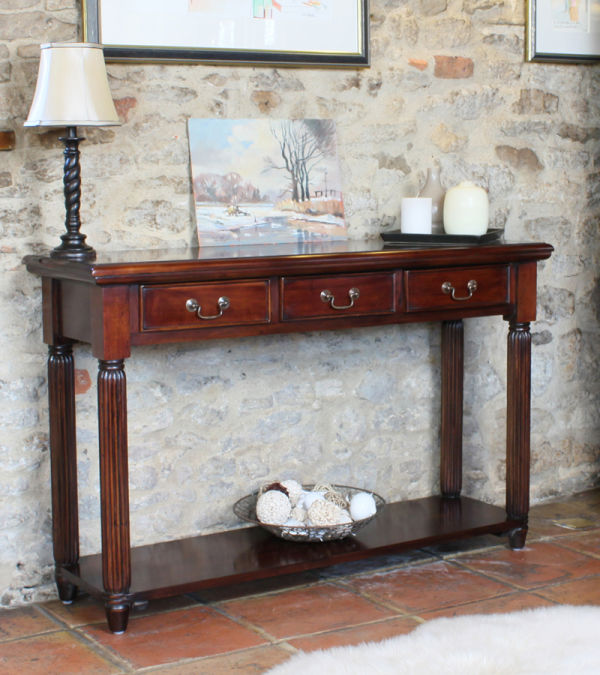 Mahogany La Roque Console Hall Table With Drawers