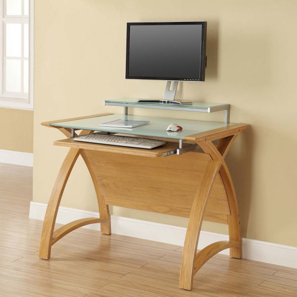 Curve Home Office Oak Desk (90cm)