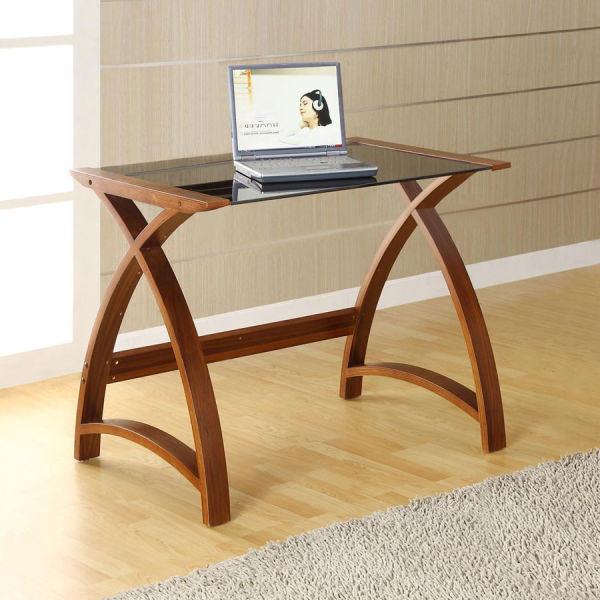 Curve Home Office Walnut Table (90cm)