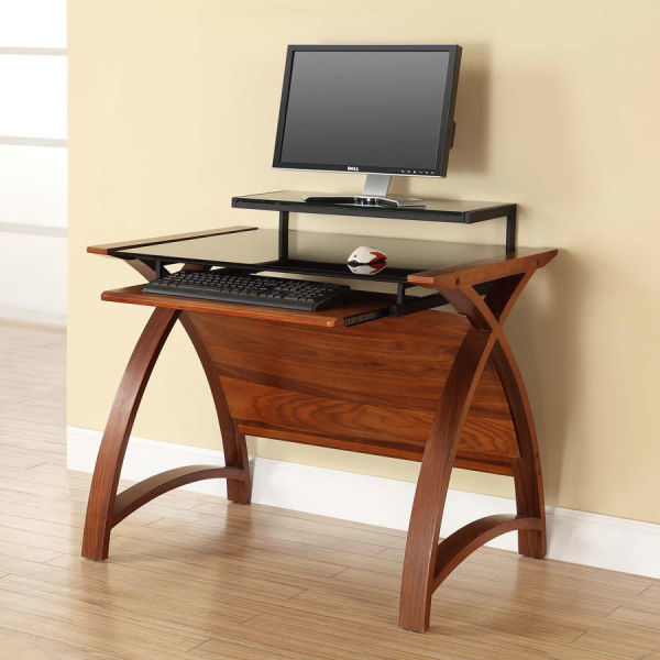 Curve Home Office Walnut Desk (90cm)