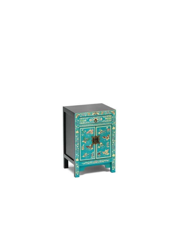 The Nine Schools Oriental Decorated Blue Small Cabinet