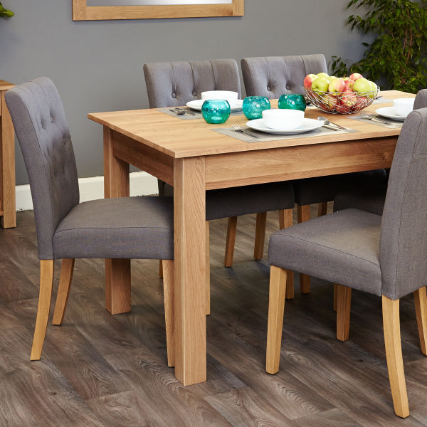 Mobel Oak 4-6 seat table and 6 grey chairs