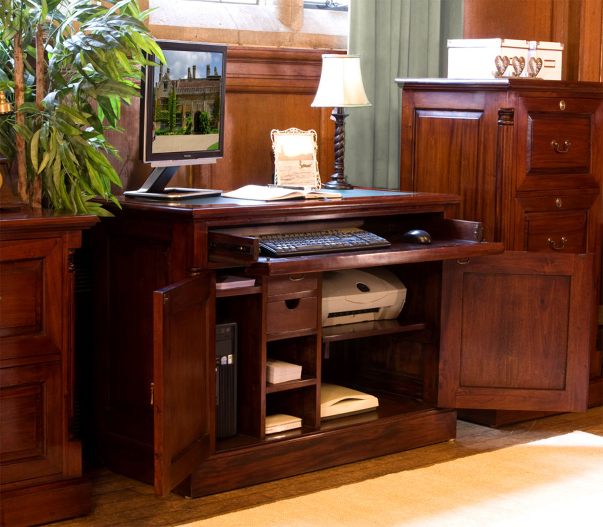 Mahogany Home Library Office: La Roque Mahogany Hidden Home Office Was £840.00 Now £656
