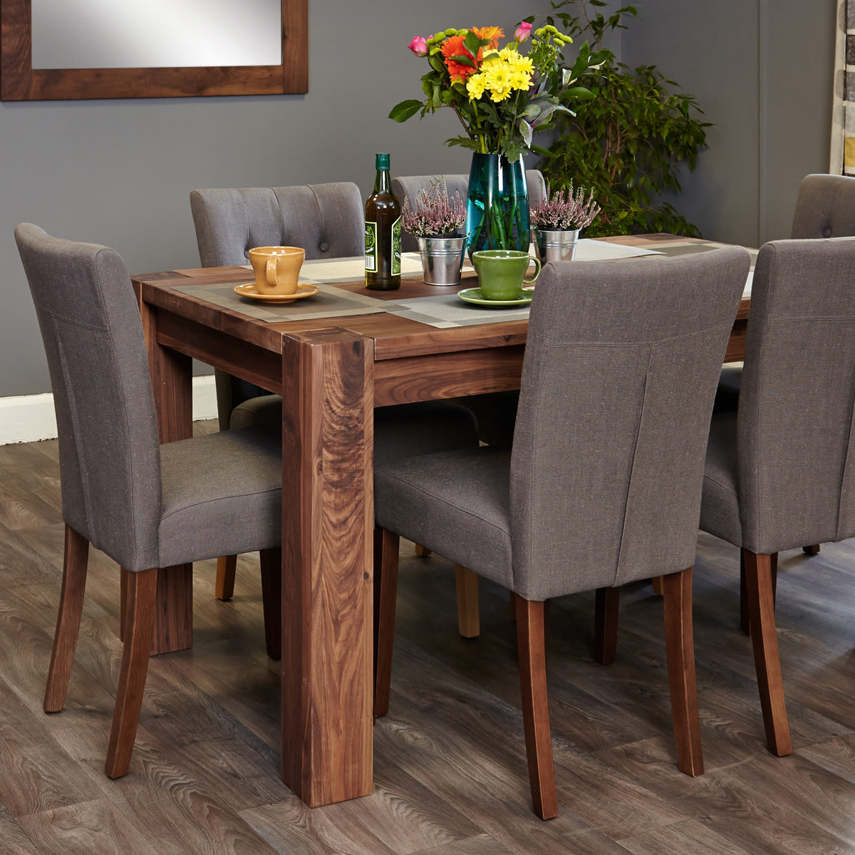Shiro Walnut 6-8 Seat Dining Table And 6 Grey Linen Chairs