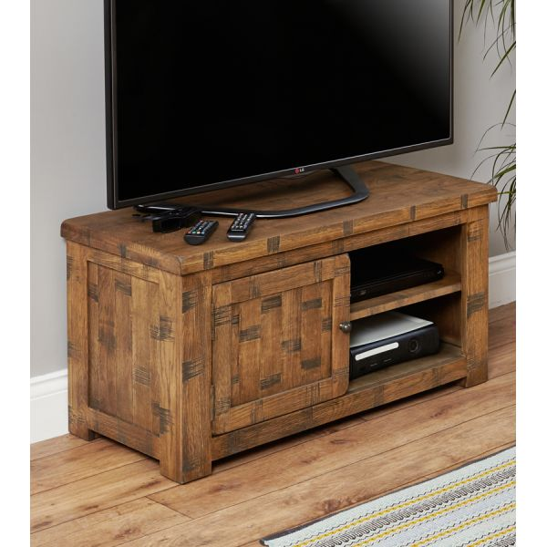 Rough Sawn Oak One Door Television Cabinet
