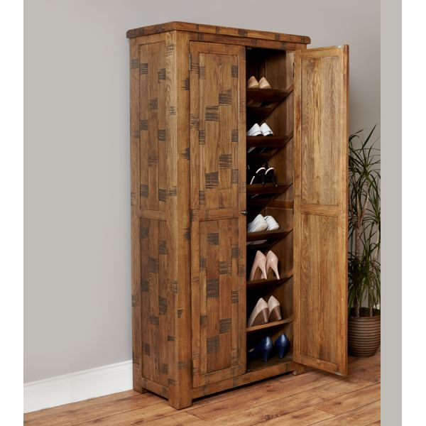 Rough Sawn Oak Large Shoe Cupboard