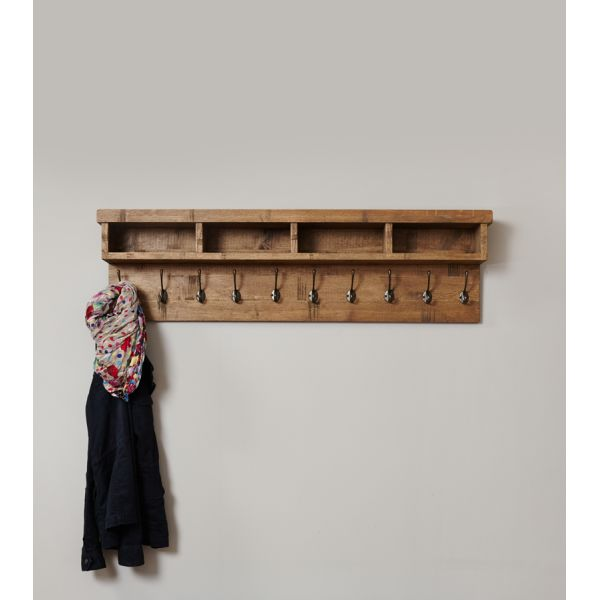 Rough Sawn Oak Wall Mounted Coat Rack