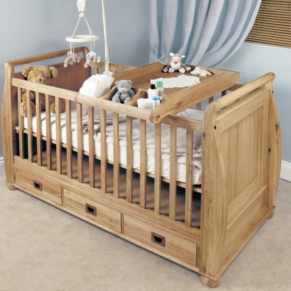 Moppet Oak Cot Bed and Baby Changer