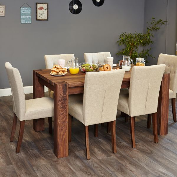 Shiro Walnut 6 seat table and 6 cream chairs