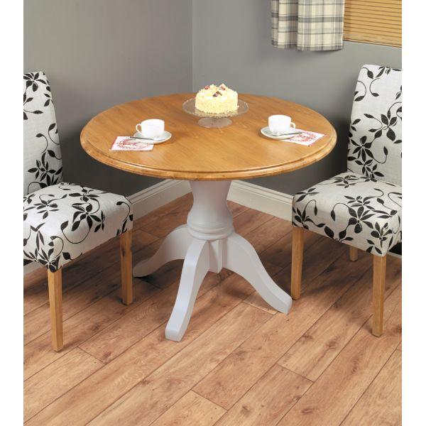 Chadwick Grey Round Table and  2 flock chairs