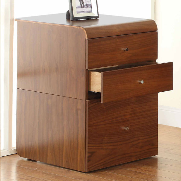 Curve Home Office Walnut High Pedestal