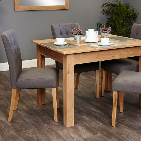 Mobel Oak four seat table and grey chairs