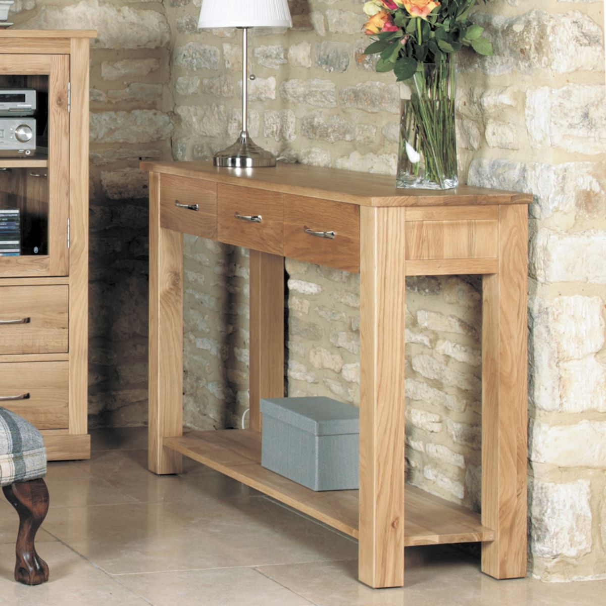 Mobel Light Oak Console Table Wooden Furniture Store