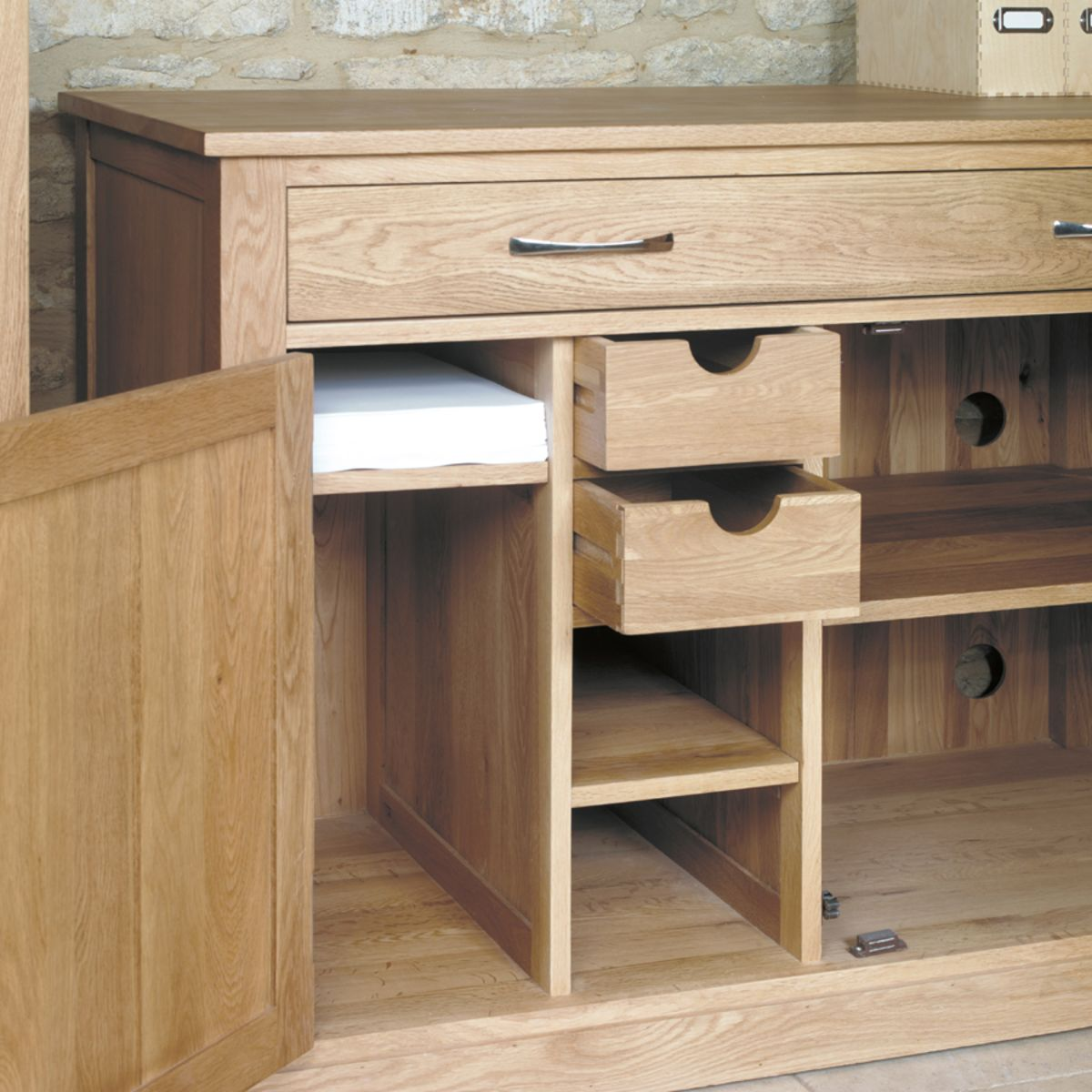 Hidden Printer Cabinet Mobel Oak Hidden Home Office Workstation Wooden Furniture Store