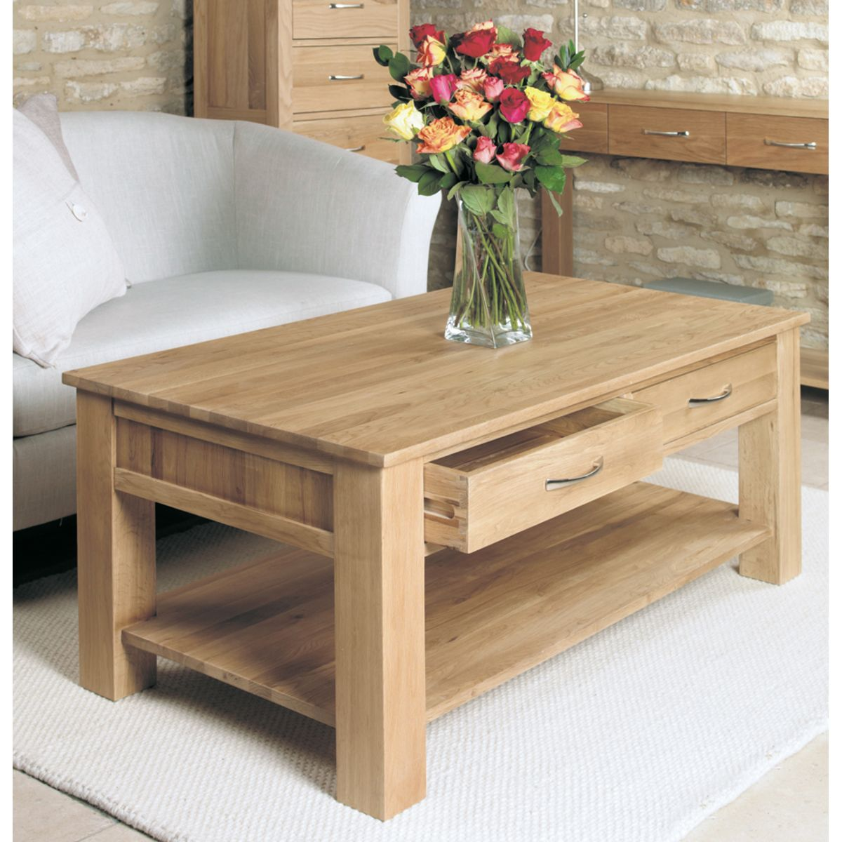 Coffee Table With Drawers: Mobel Oak Four Drawer Coffee Table