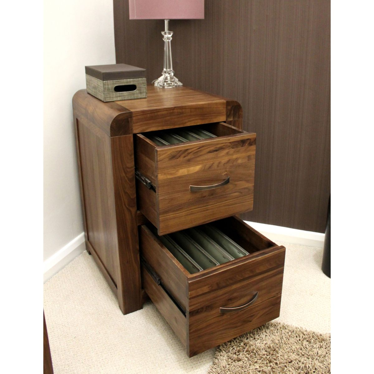 Buy Shiro Walnut Two Drawer Cabinet Online At Wooden