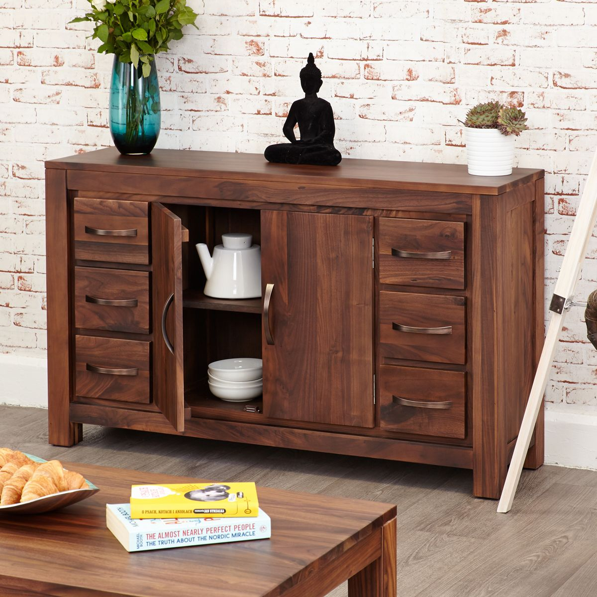 Mayan Walnut Six Drawer Sideboard Wooden Furniture Store
