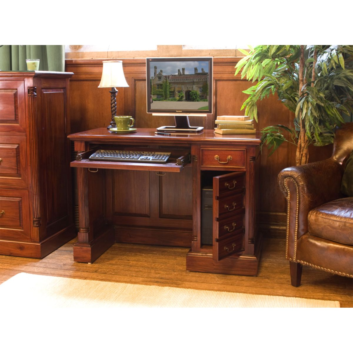 La Roque Single Pedestal Mahogany Computer Desk Wooden