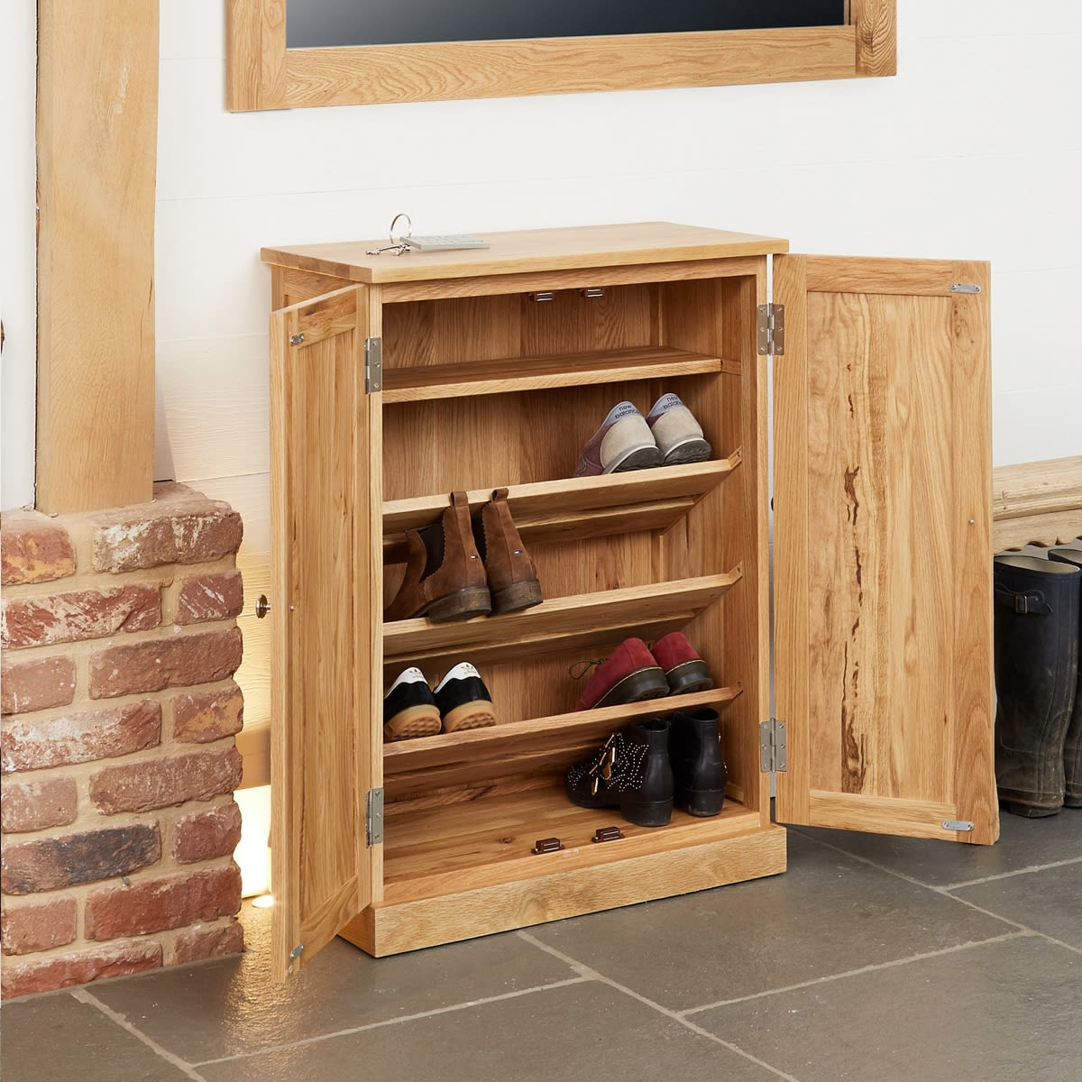 Mobel Light Oak Shoe Cupboard Wooden Furniture Store