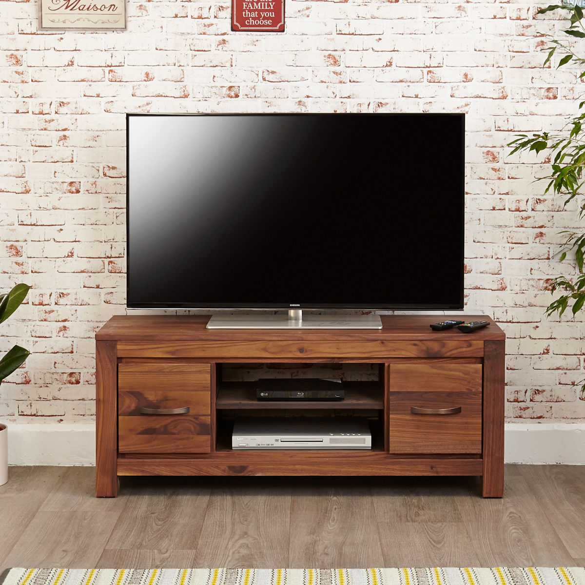 Mayan Walnut Low Television Cabinet Wooden Furniture Store
