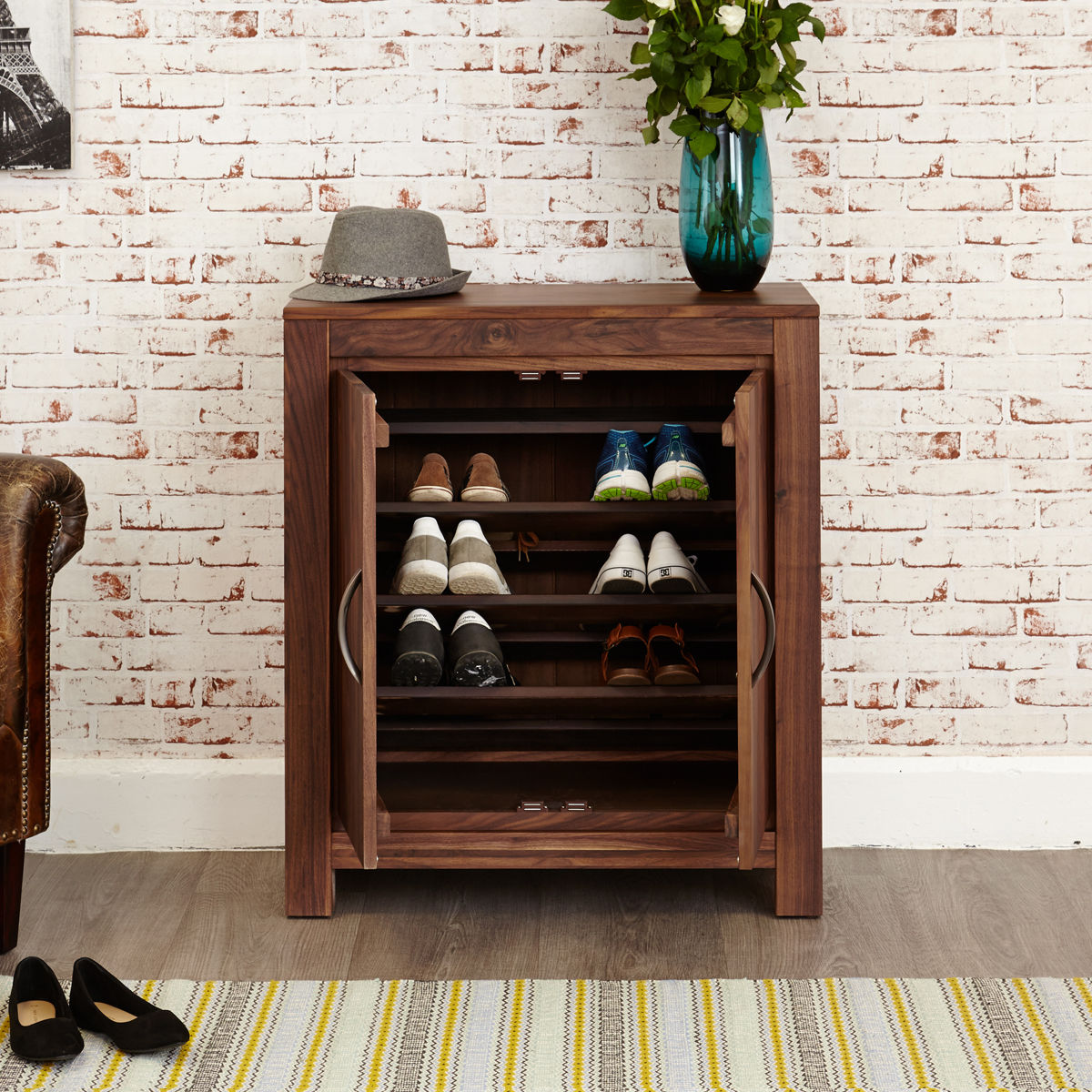 Mayan Walnut Shoe Cupboard Wooden Furniture Store