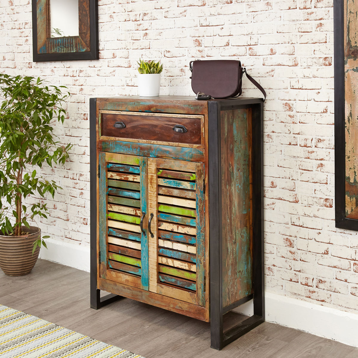 Urban Chic Shoe Storage Cupboard With Drawer Wooden Furniture Store