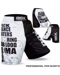 Sublimated Muay Thai MMA Kickboxing Shorts Black and White Print