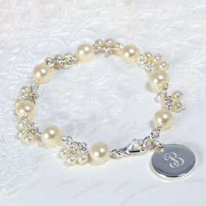 Pearl Cluster Bracelet With Silver Charm
