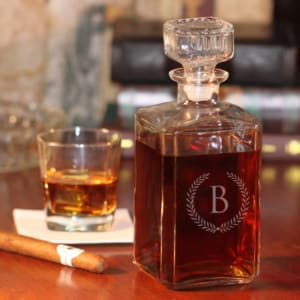 Personalized Glass Whiskey Decanter with Wheat Design