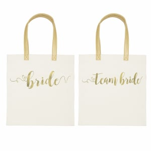 Gold Foil Canvas Tote, choice of Bride or Team Bride