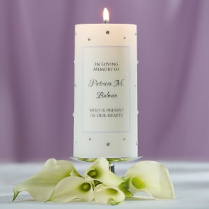 Crystal-Accent Wedding Memorial Candle