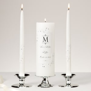 Piazza Lace and Crystals Unity Candle and Tapers Set