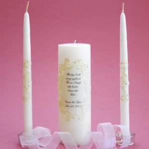 Oval Lace This Day Unity Candle Set