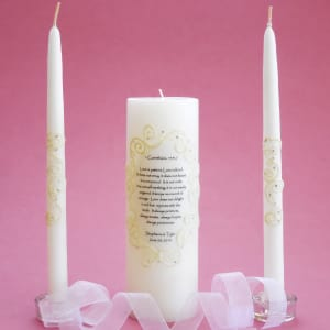 Oval Lace 1 Corinthians Unity Candle Set