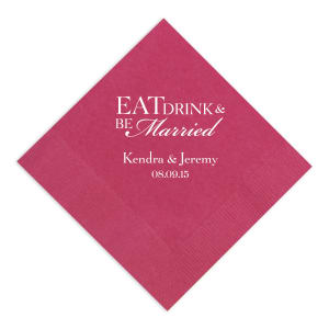 Eat Drink and Be Married Napkin with Script