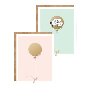 Gold Balloon Handwritten Scratch-off Greeting Card