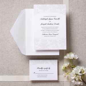 Pearlized Embossed Damask Wedding Invitation