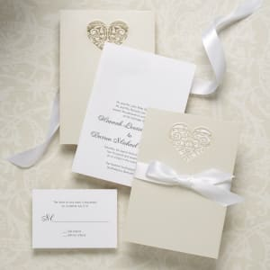 Intricate Latte Heart Wedding Invitation