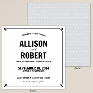 Polka Dot Flourish Wedding Invitation