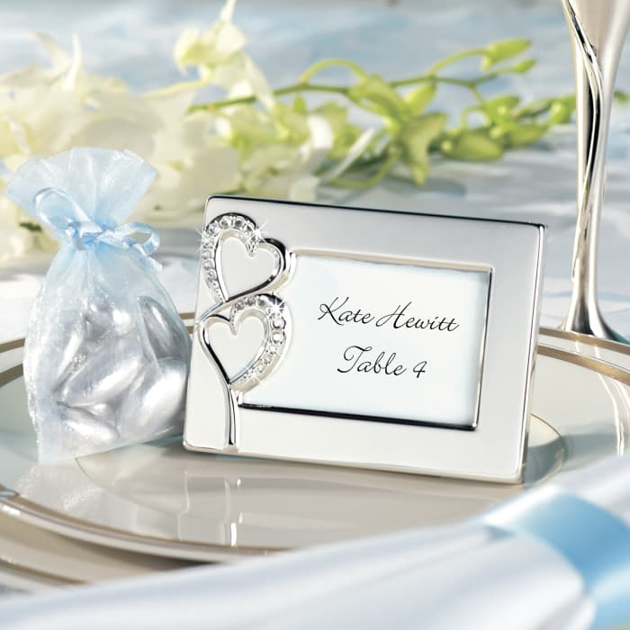Twin Hearts Place Card Holder Favor Exclusively Weddings