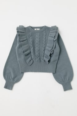 RUFFLE SHOULDER Knit Top