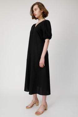 PUFF SLEEVE LINEN BLEND Dress