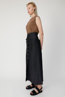 FRONT BUTTON LINEN BLEND Skirt