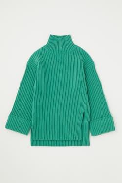 HIGH NECK SLIT knit tops