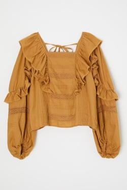 SQUARE NECK RUFFLED blouse